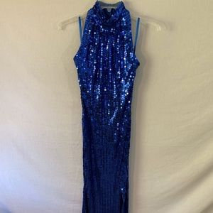 Vintage Long Sleeveless Blue Sequin Evening Gown